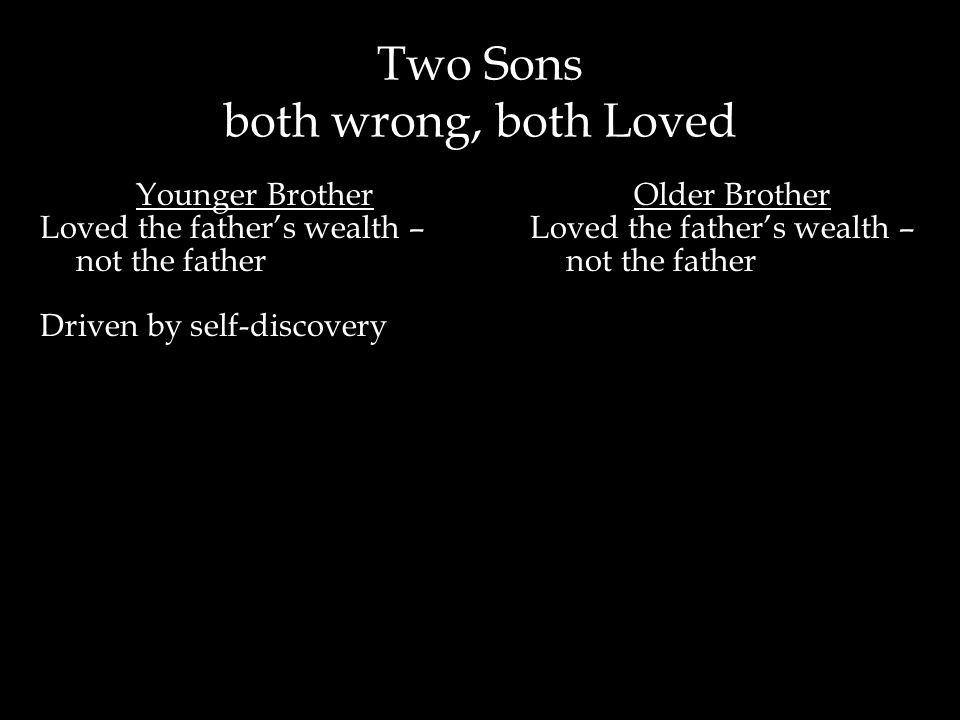 Two Sons both wrong, both Loved Older Brother Loved the father's wealth – not the father Younger Brother Loved the father's wealth – not the father Dr