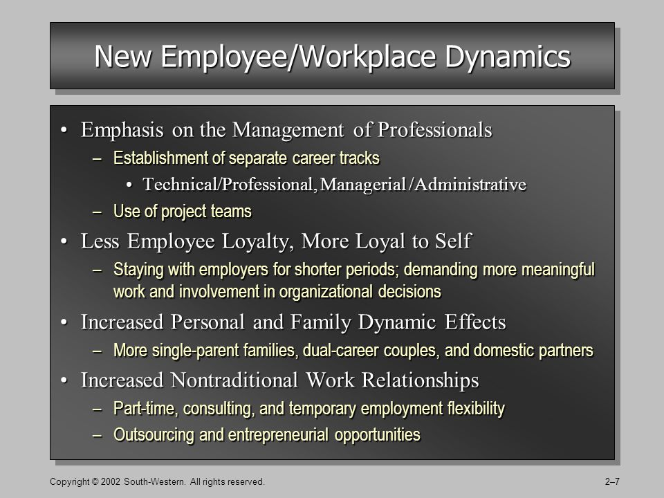 Copyright © 2002 South-Western. All rights reserved.2–7 New Employee/Workplace Dynamics Emphasis on the Management of ProfessionalsEmphasis on the Man