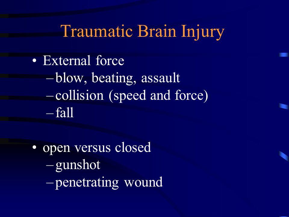 Acquired brain injury strokes tumor anoxia (near drowning, strangulation, choking) disease (encephalitis, meningitis) toxicity (lead, chemicals)