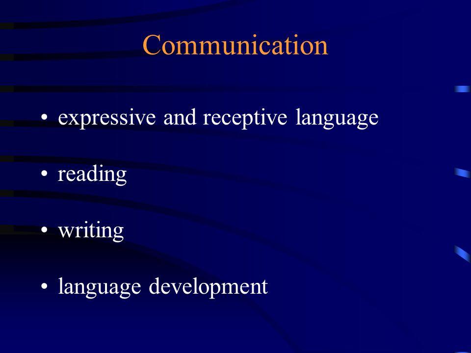 Communication expressive and receptive language reading writing language development
