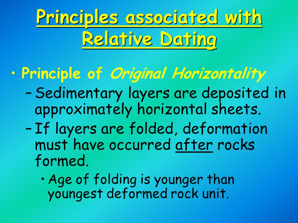 Principles associated with Relative Dating Principle of Original Horizontality –Sedimentary layers are deposited in approximately horizontal sheets.