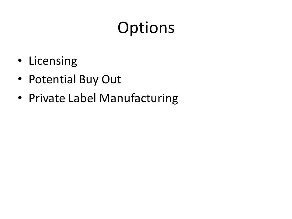 Options Licensing Potential Buy Out Private Label Manufacturing
