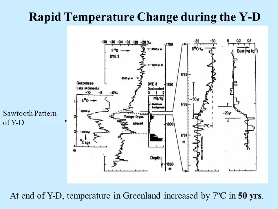 29 Rapid Temperature Change during the Y-D At end of Y-D, temperature in Greenland increased by 7ºC in 50 yrs. Sawtooth Pattern of Y-D