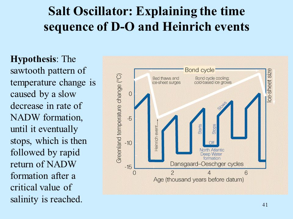 41 Salt Oscillator: Explaining the time sequence of D-O and Heinrich events Hypothesis: The sawtooth pattern of temperature change is caused by a slow