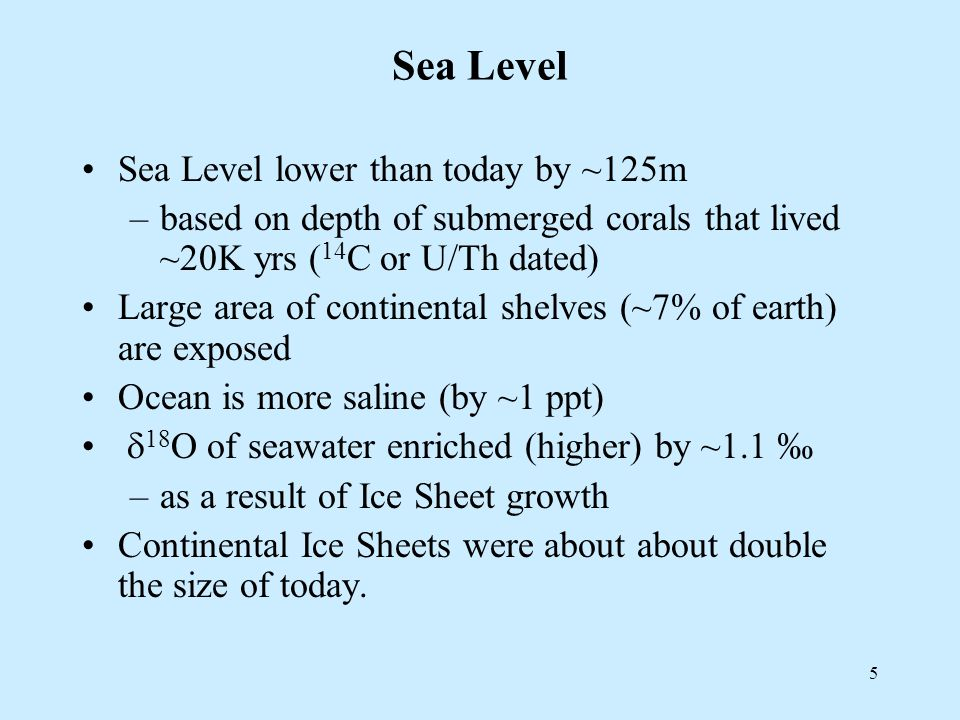 5 Sea Level Sea Level lower than today by ~125m –based on depth of submerged corals that lived ~20K yrs ( 14 C or U/Th dated) Large area of continental shelves (~7% of earth) are exposed Ocean is more saline (by ~1 ppt)  18 O of seawater enriched (higher) by ~1.1 ‰ –as a result of Ice Sheet growth Continental Ice Sheets were about about double the size of today.