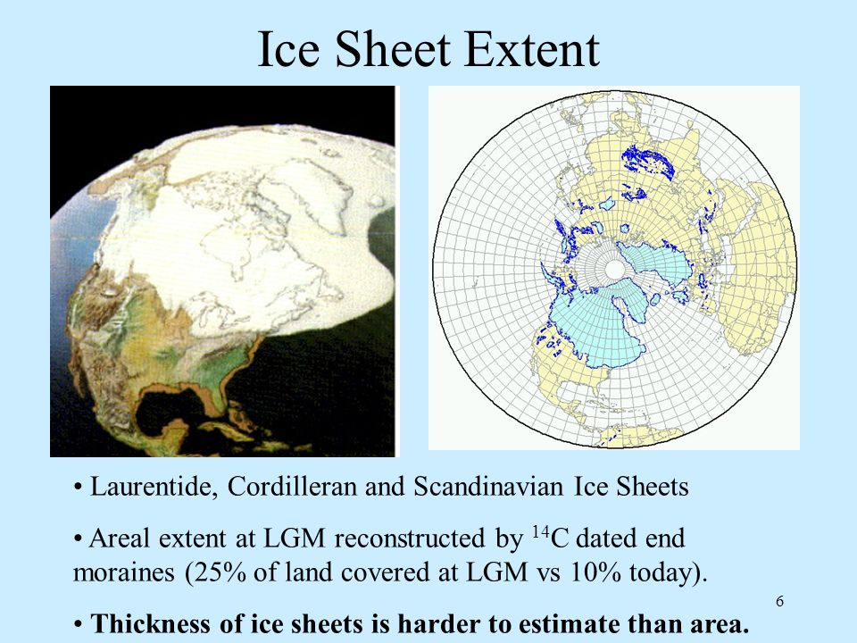 6 Ice Sheet Extent Laurentide, Cordilleran and Scandinavian Ice Sheets Areal extent at LGM reconstructed by 14 C dated end moraines (25% of land covered at LGM vs 10% today).