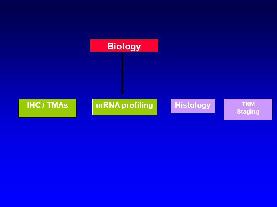 Histology Biology IHC / TMAsmRNA profiling TNM Staging