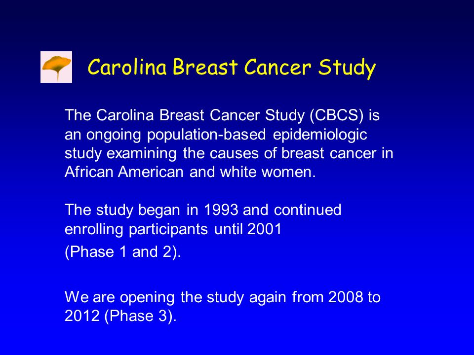 The Carolina Breast Cancer Study (CBCS) is an ongoing population-based epidemiologic study examining the causes of breast cancer in African American and white women.