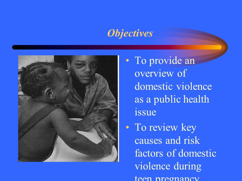 Objectives To provide an overview of domestic violence as a public health issue To review key causes and risk factors of domestic violence during teen