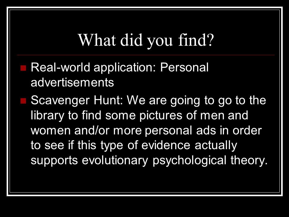 What did you find.