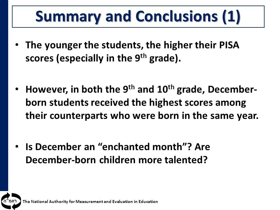 ראמ ה The National Authority for Measurement and Evaluation in Education Summary and Conclusions (1) The younger the students, the higher their PISA scores (especially in the 9 th grade).