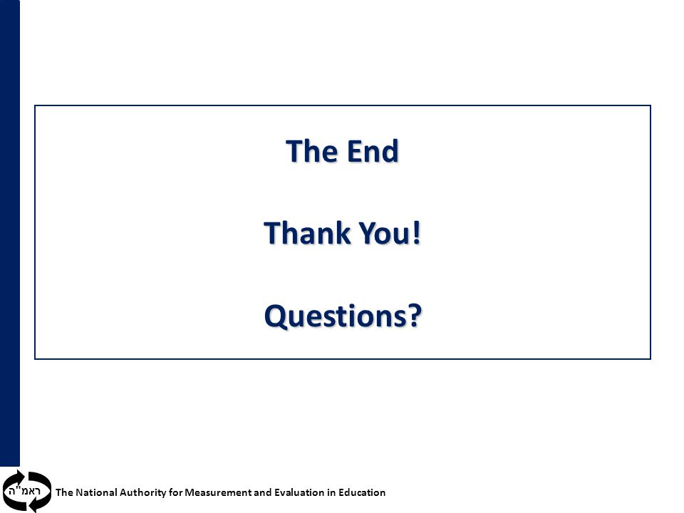 ראמ ה The National Authority for Measurement and Evaluation in Education The End Thank You.