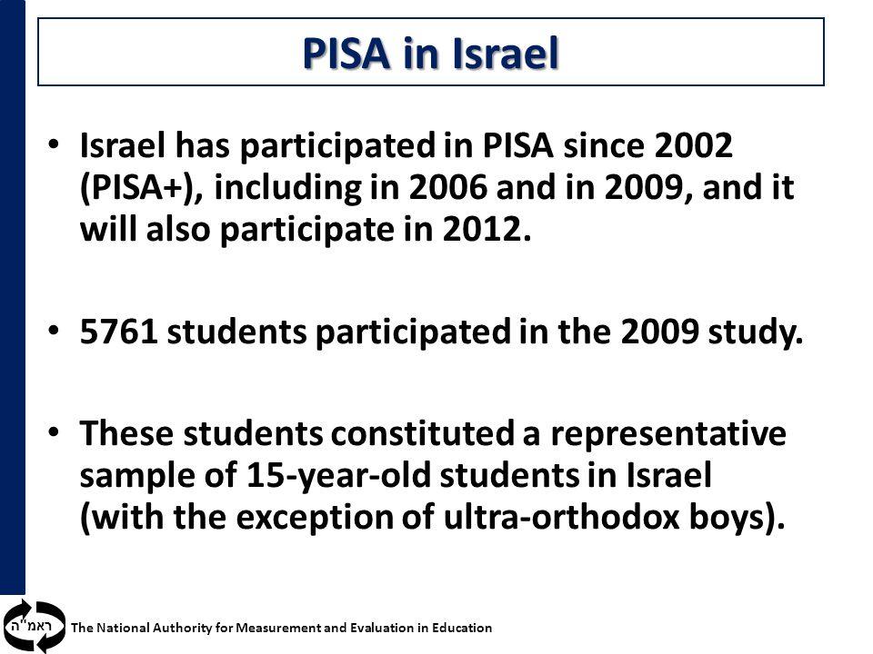 ראמ ה The National Authority for Measurement and Evaluation in Education PISA in Israel Israel has participated in PISA since 2002 (PISA+), including in 2006 and in 2009, and it will also participate in 2012.