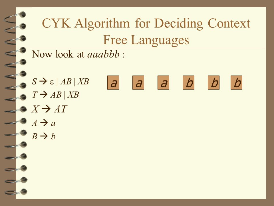 CYK Algorithm for Deciding Context Free Languages Now look at aaabbb : S   | AB | XB T  AB | XB X  AT A  a B  b aaabbb