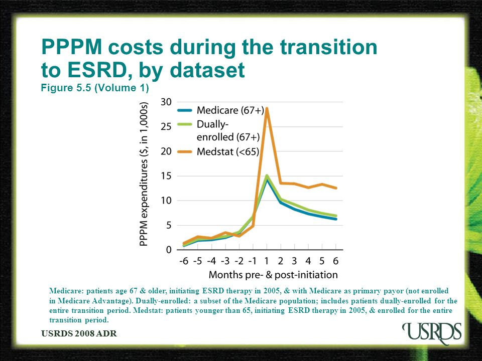 USRDS 2008 ADR PPPM costs during the transition to ESRD, by dataset Figure 5.5 (Volume 1) Medicare: patients age 67 & older, initiating ESRD therapy in 2005, & with Medicare as primary payor (not enrolled in Medicare Advantage).