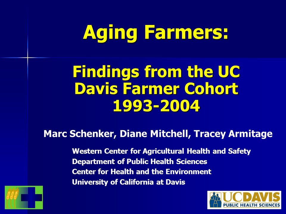 Introduction UC Davis Farmer Health Study (UCD FHS) UC Davis Farmer Health Study (UCD FHS) In 1993 random selection of California farm operators In 1993 random selection of California farm operators –1947 subjects surveyed by CATI Re-surveyed in 1998 and 2004 (did not have to be actively farming) Re-surveyed in 1998 and 2004 (did not have to be actively farming) Aim: Identify prevalence and risk factors for acute and chronic disease in CA farmers, with the objective of prevention of disease Aim: Identify prevalence and risk factors for acute and chronic disease in CA farmers, with the objective of prevention of disease