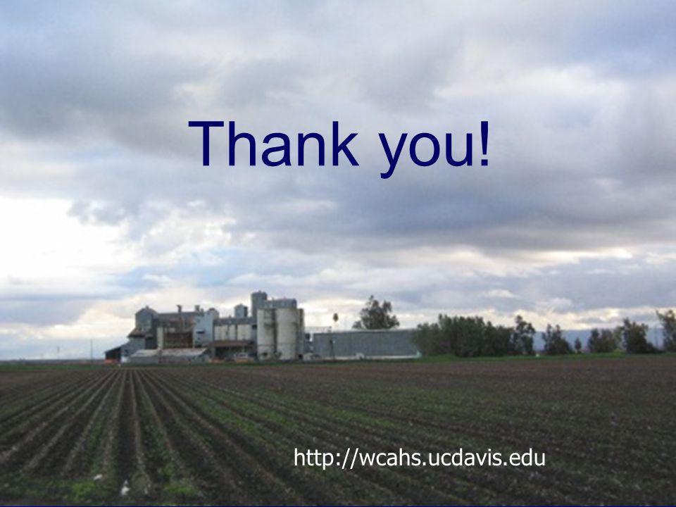 Thank you! http://wcahs.ucdavis.edu