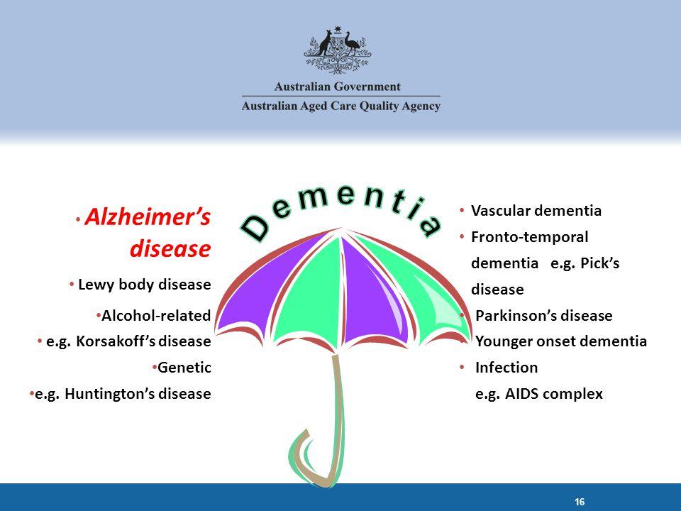 Vascular dementia Fronto-temporal dementia e.g. Pick's disease Parkinson's disease Younger onset dementia Infection e.g. AIDS complex Alzheimer's dise