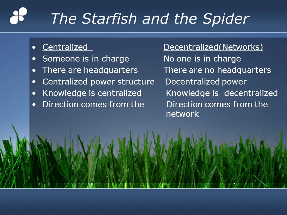 The Starfish and the Spider Centralized Decentralized(Networks) Someone is in charge No one is in charge There are headquarters There are no headquarters Centralized power structure Decentralized power Knowledge is centralized Knowledge is decentralized Direction comes from the Direction comes from the network