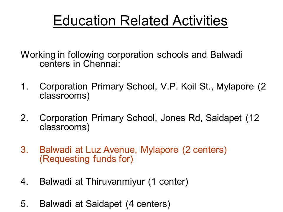 Education Related Activities Working in following corporation schools and Balwadi centers in Chennai: 1.Corporation Primary School, V.P.