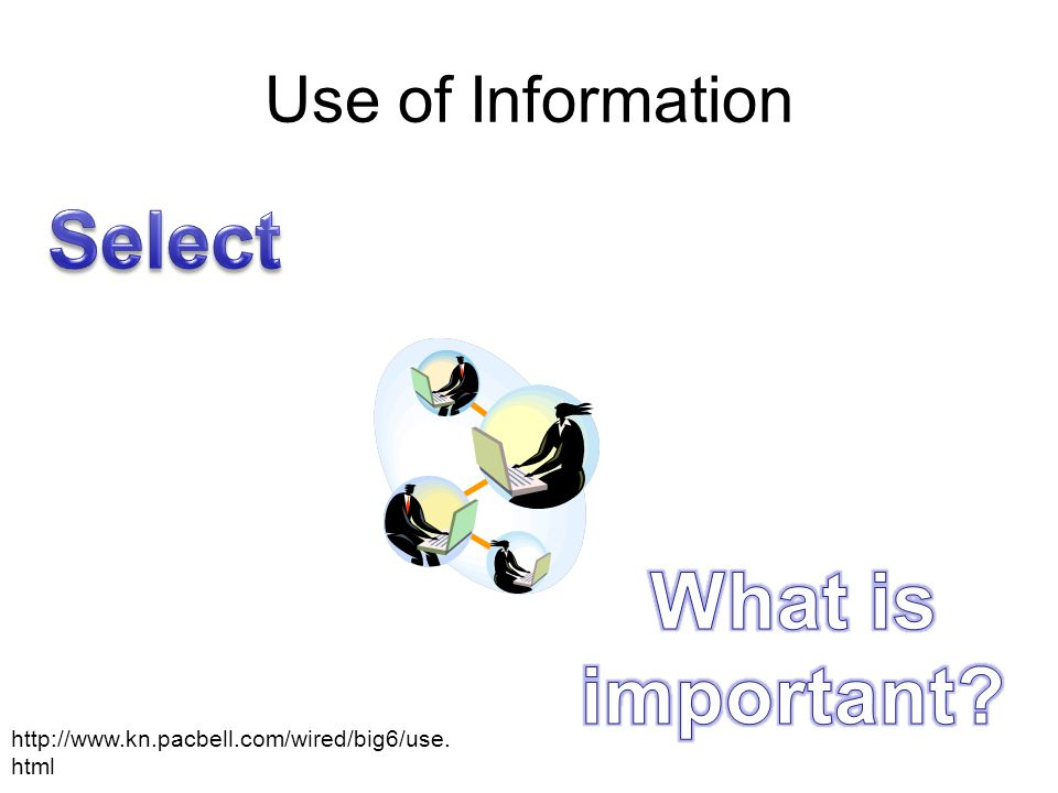 Use of Information http://www.kn.pacbell.com/wired/big6/use. html