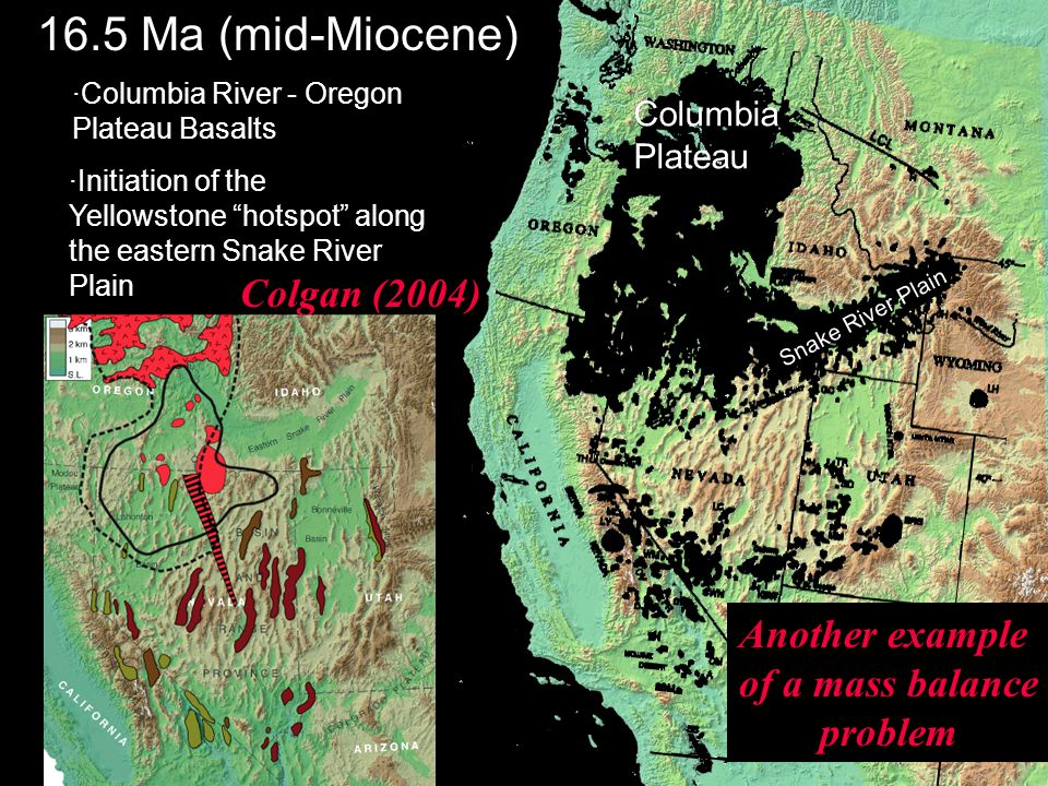·Columbia River - Oregon Plateau Basalts ·Initiation of the Yellowstone hotspot along the eastern Snake River Plain 16.5 Ma (mid-Miocene) Columbia Plateau Snake River Plain Colgan (2004) Another example of a mass balance problem