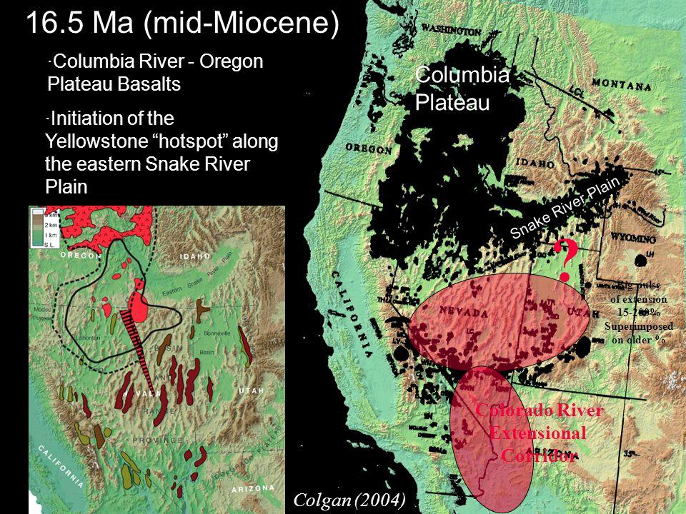 ·Columbia River - Oregon Plateau Basalts ·Initiation of the Yellowstone hotspot along the eastern Snake River Plain 16.5 Ma (mid-Miocene) Columbia Plateau Snake River Plain Colgan (2004) .