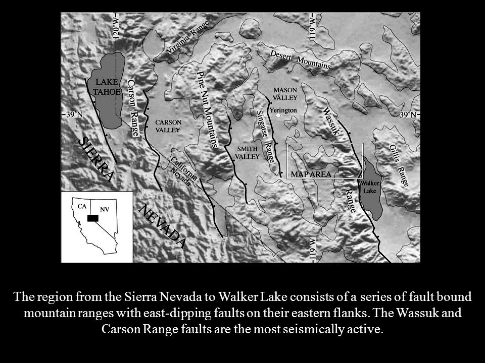 The region from the Sierra Nevada to Walker Lake consists of a series of fault bound mountain ranges with east-dipping faults on their eastern flanks.