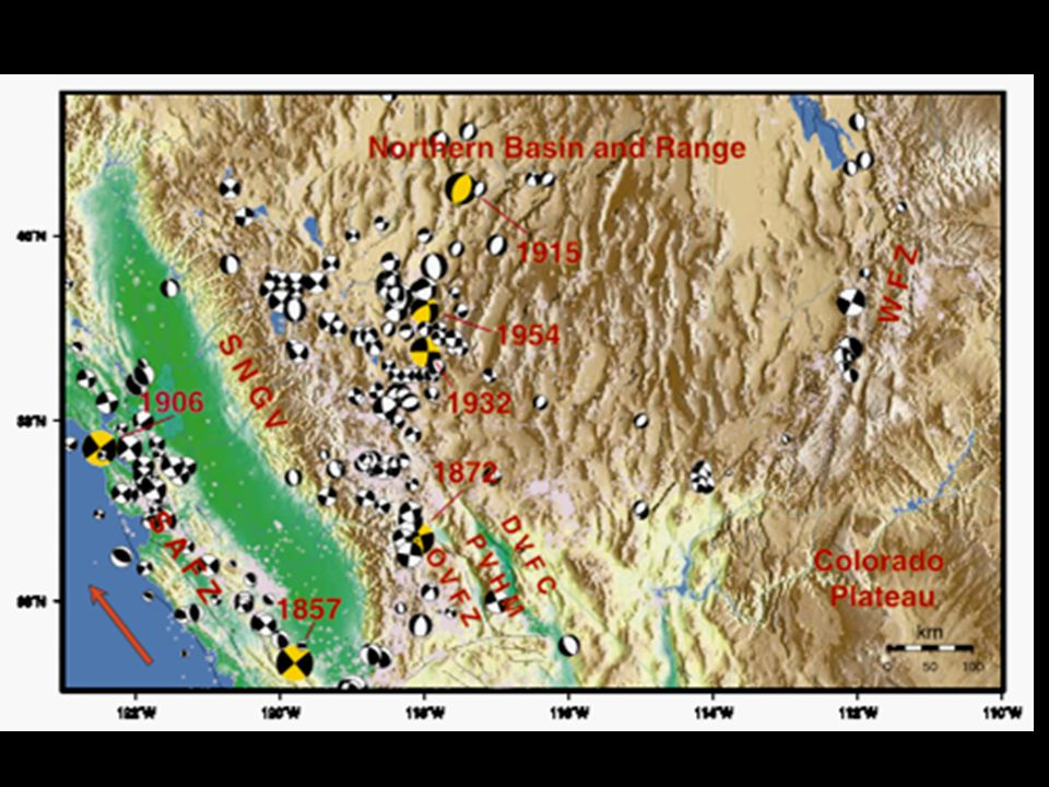 From Bennett et al., 2003 Today the Basin and Range is deforming on its edges