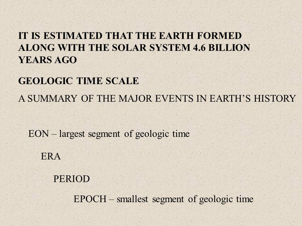 IT IS ESTIMATED THAT THE EARTH FORMED ALONG WITH THE SOLAR SYSTEM 4.6 BILLION YEARS AGO GEOLOGIC TIME SCALE A SUMMARY OF THE MAJOR EVENTS IN EARTH'S H