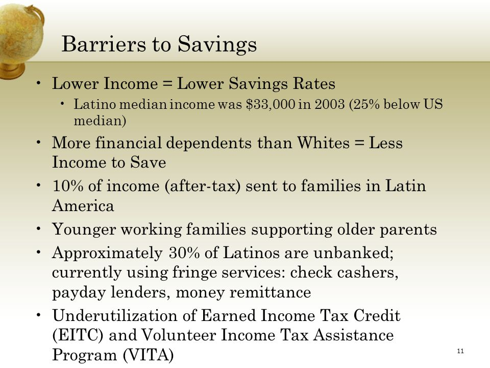 11 Barriers to Savings Lower Income = Lower Savings Rates Latino median income was $33,000 in 2003 (25% below US median) More financial dependents than Whites = Less Income to Save 10% of income (after-tax) sent to families in Latin America Younger working families supporting older parents Approximately 30% of Latinos are unbanked; currently using fringe services: check cashers, payday lenders, money remittance Underutilization of Earned Income Tax Credit (EITC) and Volunteer Income Tax Assistance Program (VITA) Low Risk Takers = Less Likely to Invest in Stock Market