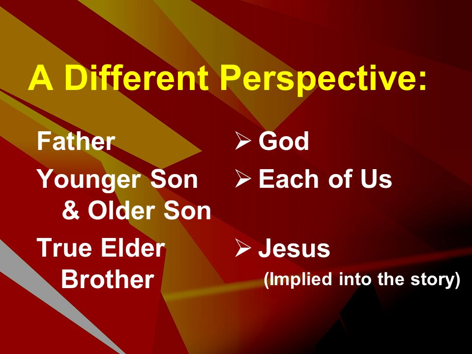 A Different Perspective: Father Younger Son & Older Son True Elder Brother  God  Each of Us  Jesus (Implied into the story)