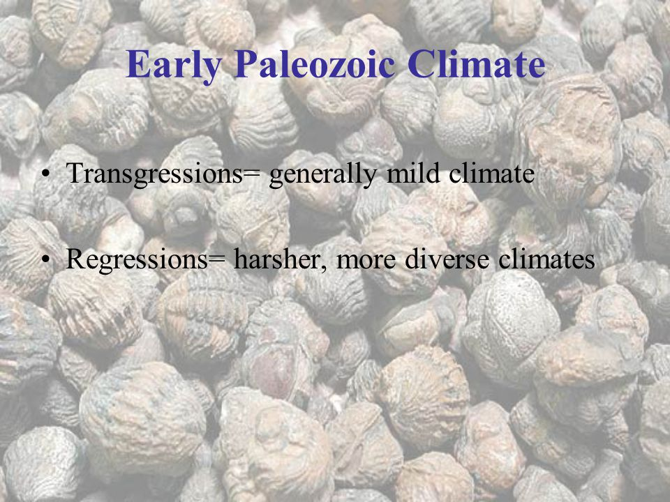 Early Paleozoic Climate Transgressions= generally mild climate Regressions= harsher, more diverse climates