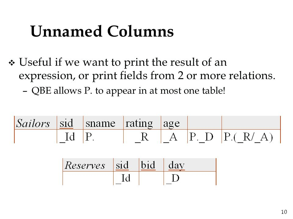 10 Unnamed Columns v Useful if we want to print the result of an expression, or print fields from 2 or more relations.