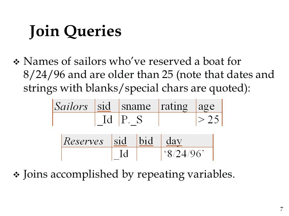 8 Join Queries (Contd.) v Colors of boats reserved by sailors who've reserved a boat for 8/24/96 and are older than 25 :