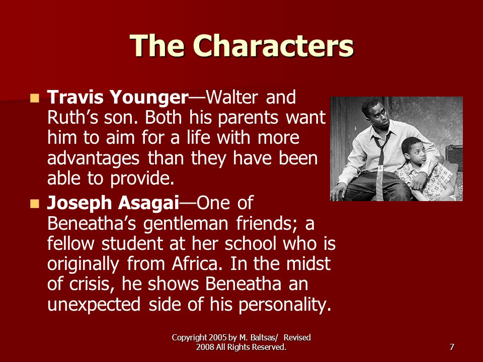 Copyright 2005 by M. Baltsas/ Revised 2008 All Rights Reserved.7 The Characters Travis Younger—Walter and Ruth's son. Both his parents want him to aim