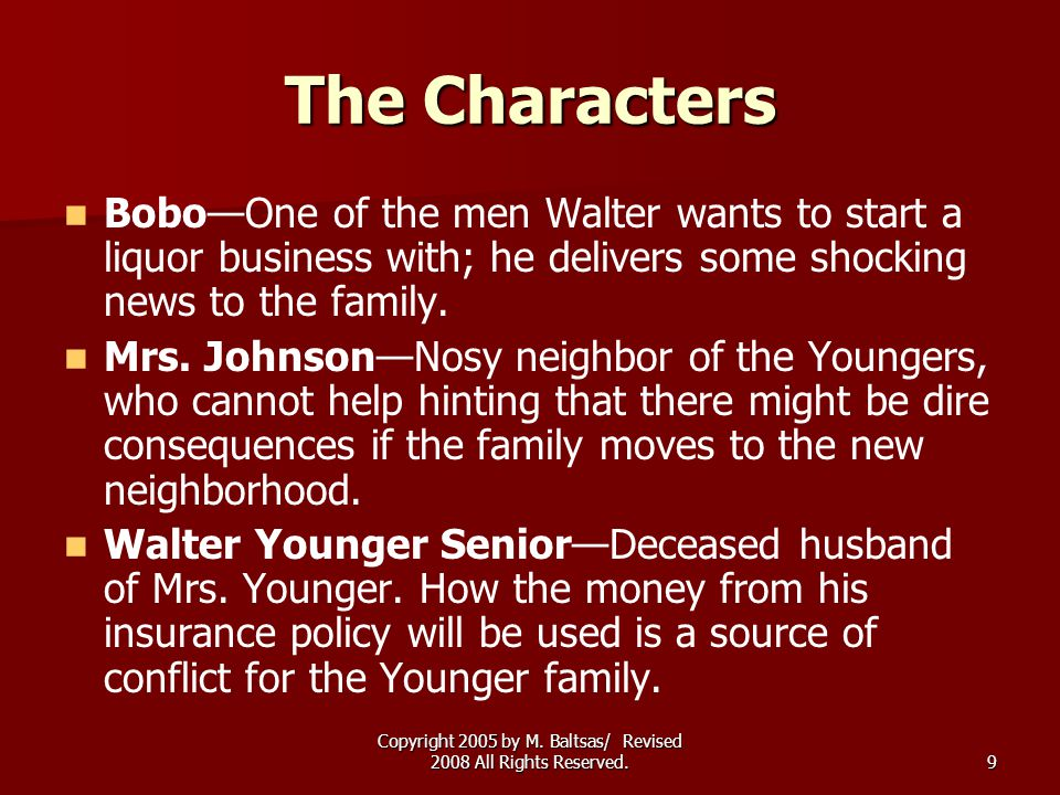 Copyright 2005 by M. Baltsas/ Revised 2008 All Rights Reserved.9 The Characters Bobo—One of the men Walter wants to start a liquor business with; he d