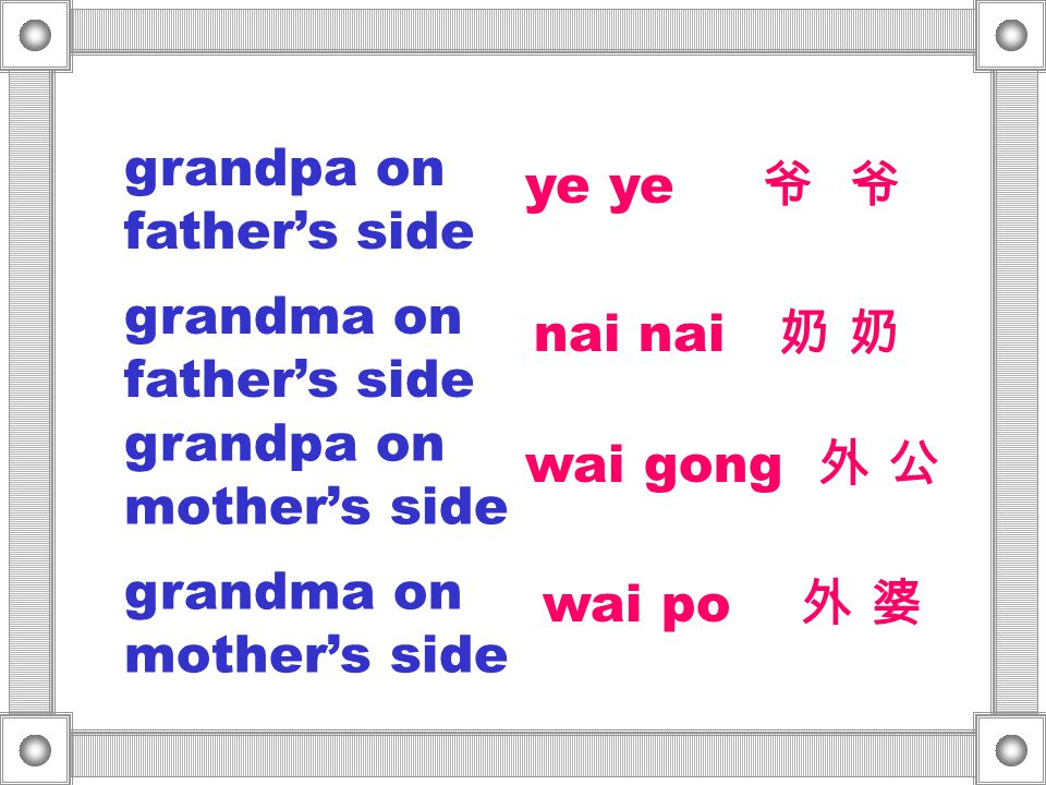 grandpa on father's side ye ye 爷 爷 grandma on father's side nai nai 奶 奶 grandpa on mother's side grandma on mother's side wai gong 外 公 wai po 外 婆