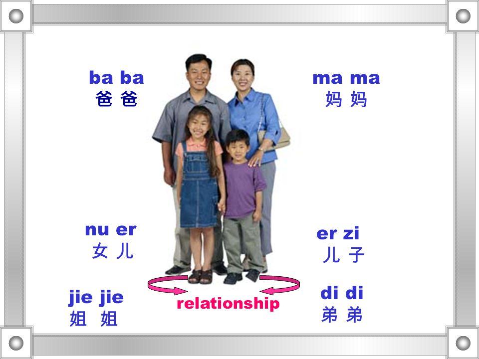 ma ma 妈 妈 ba ba 爸 爸 nu er 女 儿 er zi 儿 子 di di 弟 弟 jie jie 姐 姐 relationship