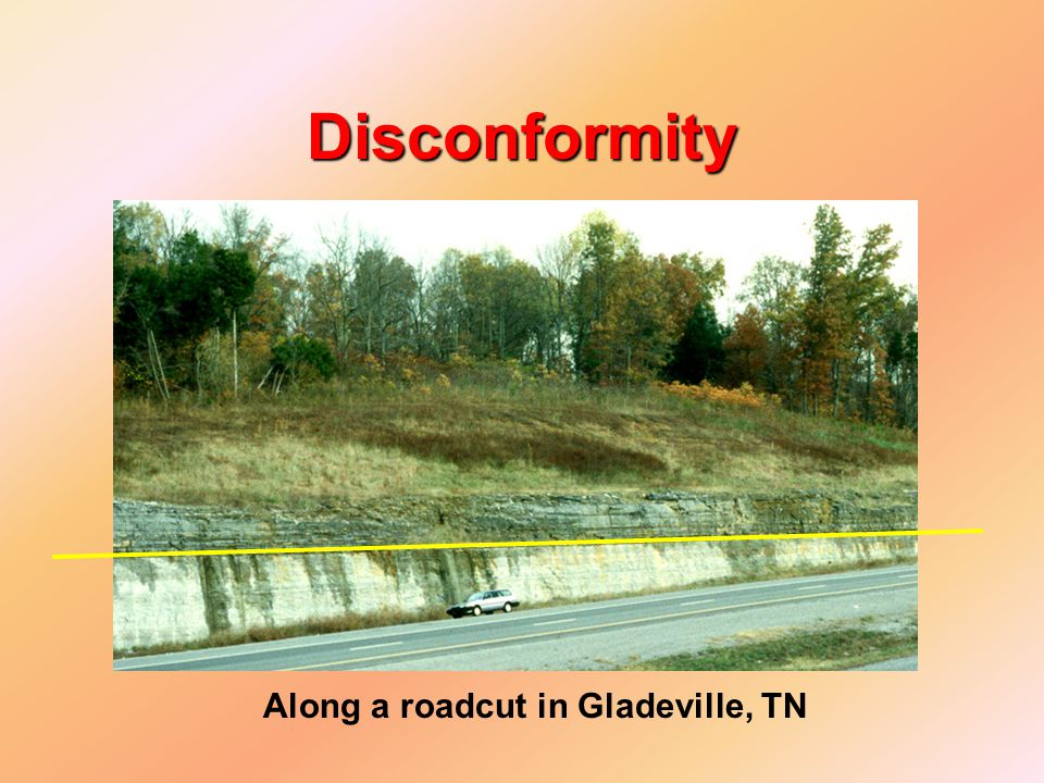 Disconformity Along a roadcut in Gladeville, TN