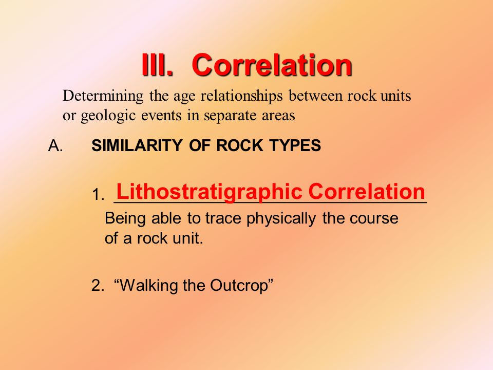 III. Correlation A. SIMILARITY OF ROCK TYPES 1.
