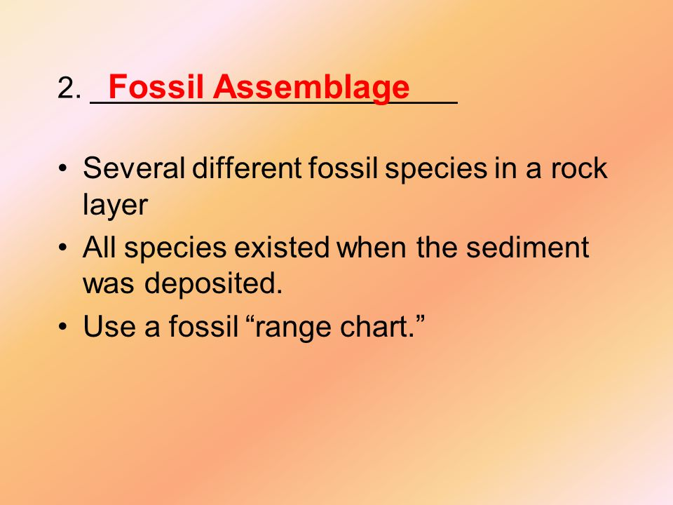 """2. ______________________ Several different fossil species in a rock layer All species existed when the sediment was deposited. Use a fossil """"range ch"""