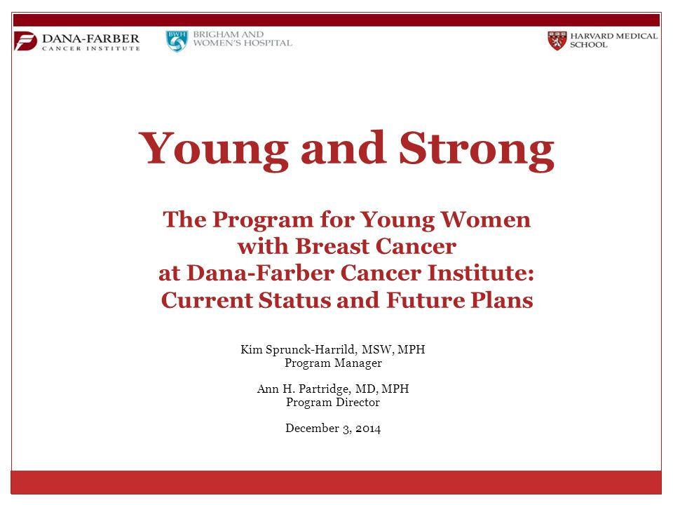 Young and Strong The Program for Young Women with Breast Cancer at Dana-Farber Cancer Institute: Current Status and Future Plans Kim Sprunck-Harrild, MSW, MPH Program Manager Ann H.