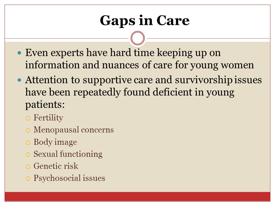 Gaps in Care Even experts have hard time keeping up on information and nuances of care for young women Attention to supportive care and survivorship issues have been repeatedly found deficient in young patients:  Fertility  Menopausal concerns  Body image  Sexual functioning  Genetic risk  Psychosocial issues