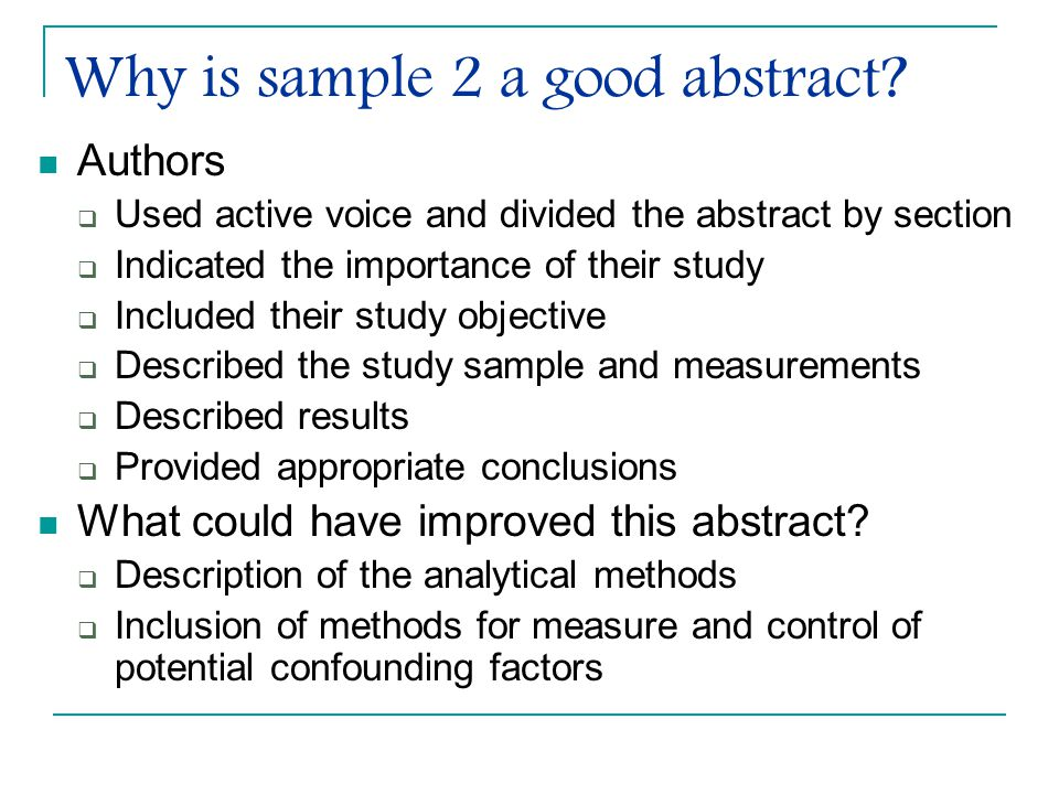 Why is sample 2 a good abstract.