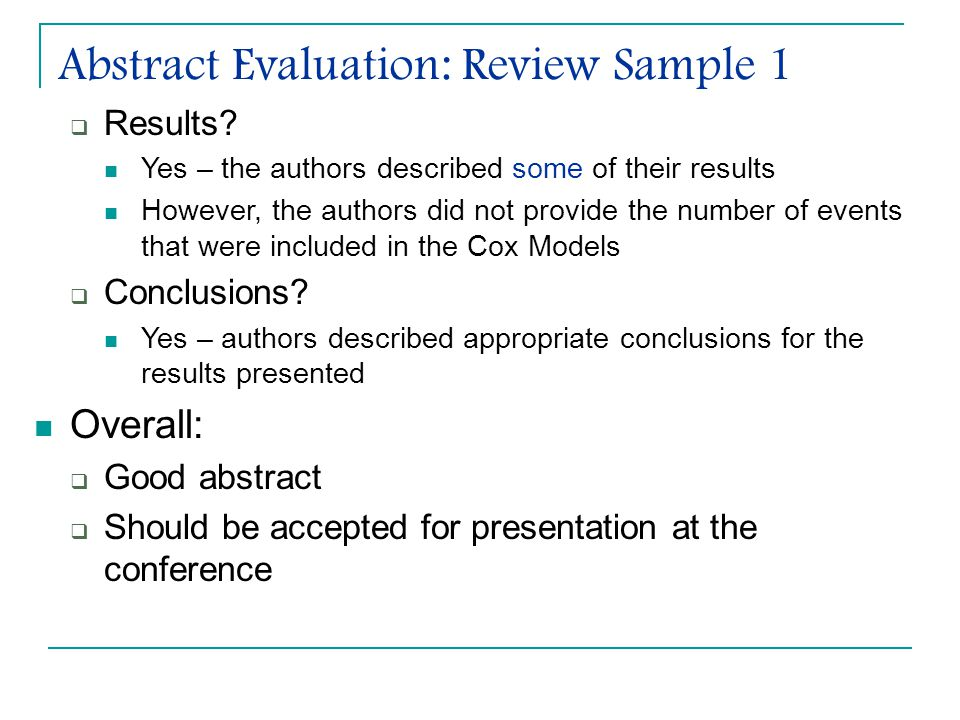 Abstract Evaluation: Review Sample 1  Results.
