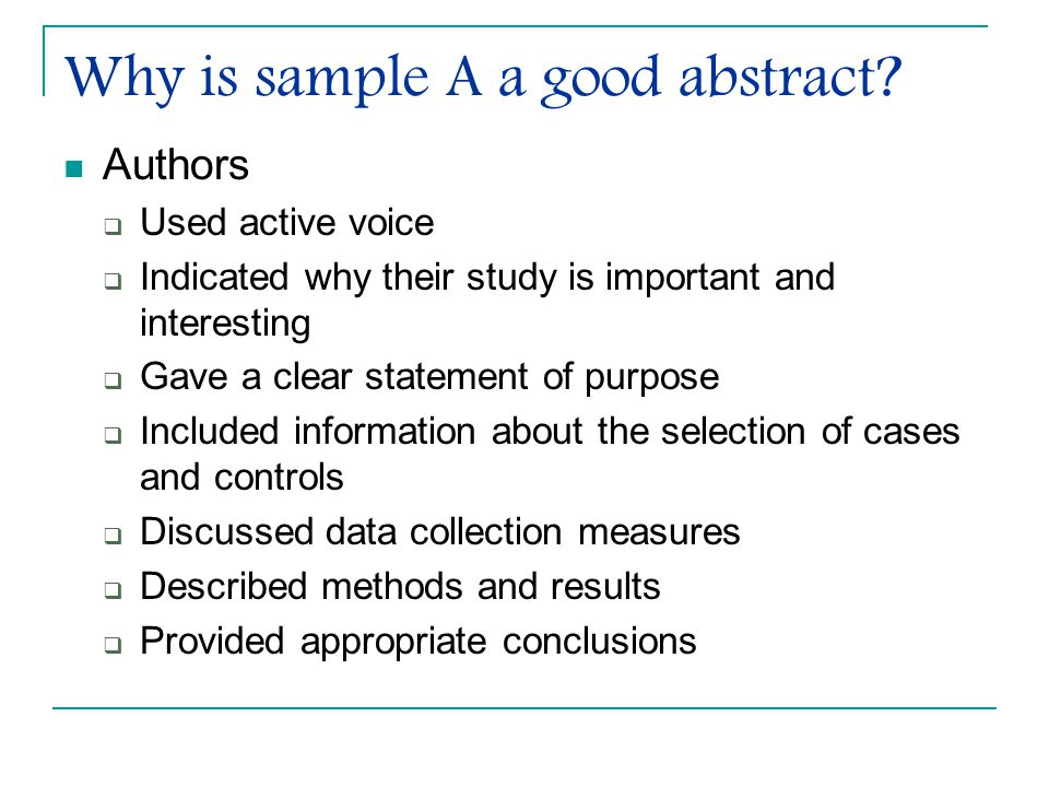 Why is sample A a good abstract.