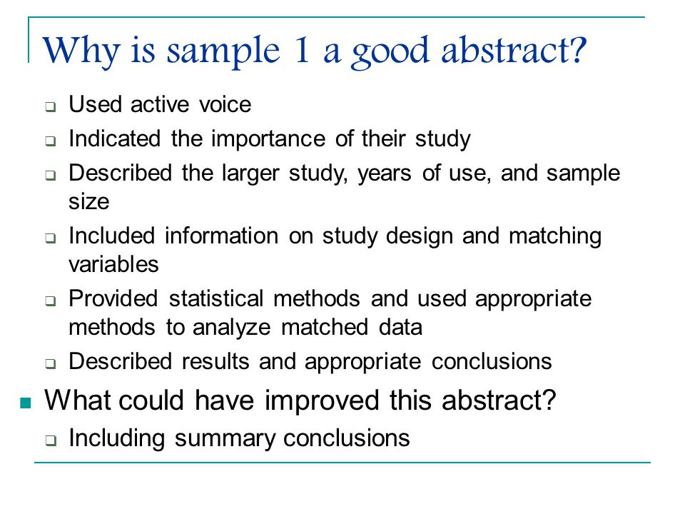 Why is sample 1 a good abstract.