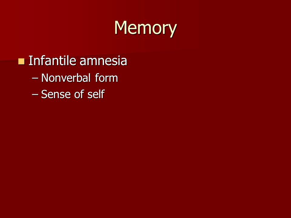 Memory Infantile amnesia Infantile amnesia –Nonverbal form –Sense of self