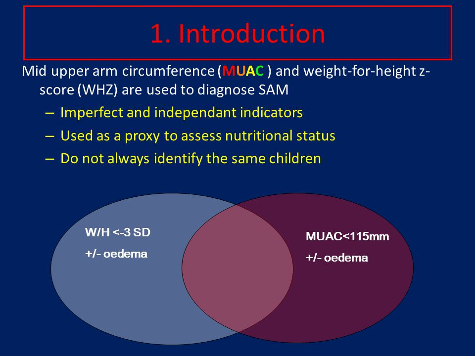 1. Introduction Mid upper arm circumference (MUAC ) and weight-for-height z- score (WHZ) are used to diagnose SAM – Imperfect and independant indicato
